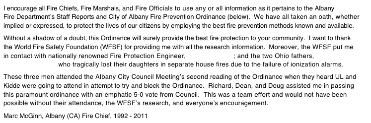 I encourage all Fire Chiefs, Fire Marshals, and Fire Officials to use any or all information as it pertains to the Albany